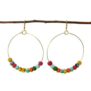 Handmade Kantha Beaded Hoop Earrings (India)