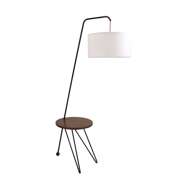 Stork Mid Century Modern Floor Lamp With Walnut Wood Accent Table