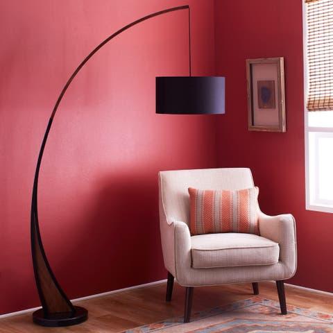Carson Carrington Fagersta Walnut Wood/ Marble Floor Lamp