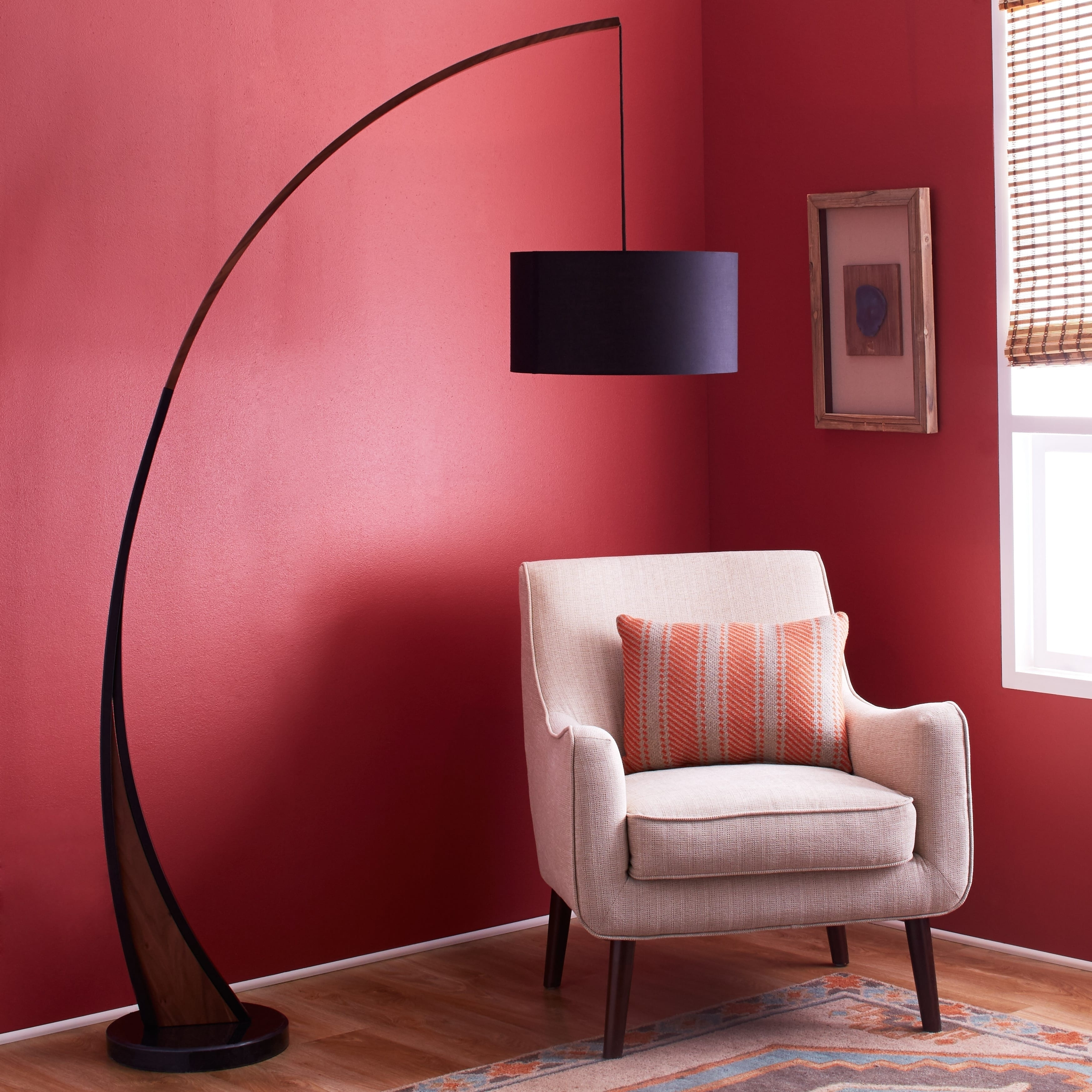 Shop Noah Mid Century Modern Floor Lamp With Walnut Wood Frame And Marble Base Free Shipping