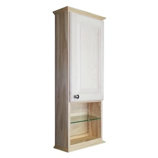 WG Wood Products Ashton Natural Wood 36-inch x 2.25-inch Wall Cabinet With 12-inch Open Shelf