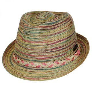 Hatch Women's Natural Mulitcolor Straw Braided Band Fedora Summer Hat