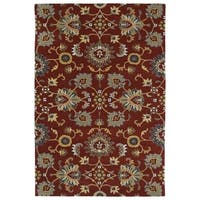 "Hand-Tufted Perry Kashan Red Wool Rug (5'0 x 7'9"") - 5' x 7'9"""