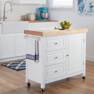 Natural Rubberwood Kitchen Island Cart (2 options available)