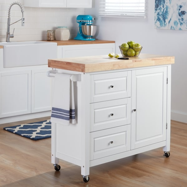 Natural Rubberwood Kitchen Island Cart Free Shipping