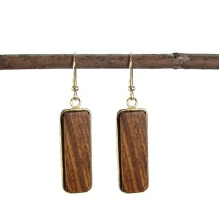 Handmade Wooden Linear Earrings (India)