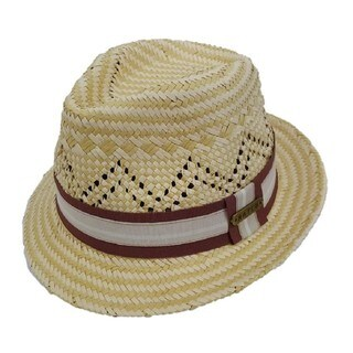 Hatch Hats Two-tone Natural Straw Ribbon Panama Fedora Hat