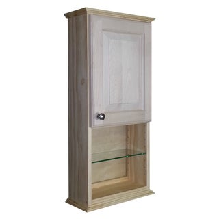 Ashton Series Natural Unfinished Wood 30-inch x 5.25-inch Wall Cabinet with 12-inch Open Shelf