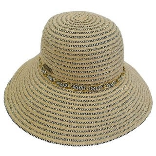 Hatch Hats Women's Metallic Choker Silver Toyo Paper Wide Brim Floppy Sunhat