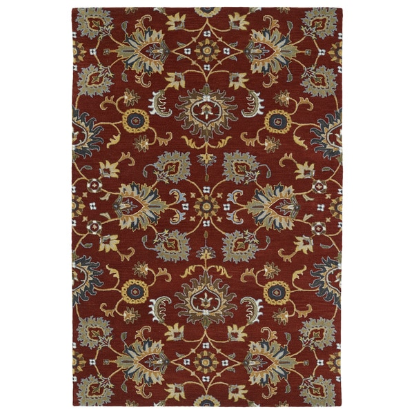 9 X 12 Nourison Nourmak Hand Knotted 100 Wool Persian: Hand-Tufted Perry Kashan Red Wool Rug (8'0 X 10'0)