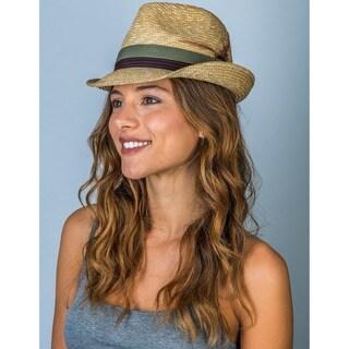 Hatch Hats Men's Menswear Fedora Natural Straw Two-tone Grosgrain Adjustable Sweatband Packable Summer Hat