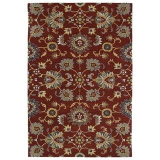 Hand-Tufted Perry Kashan Red Wool Rug (9'0 x 12'0) - 9' x 12'