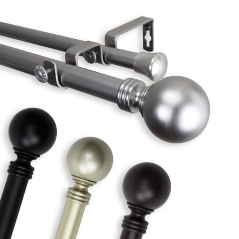 InStyleDesign Sphere 1-inch Adjustable Double Drapery Rod 160-240 inch - 160 to 240 inch