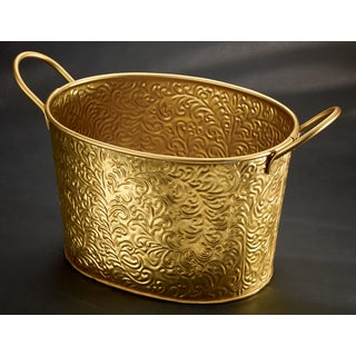 Gold Metal Vine Tub with Metal Handles