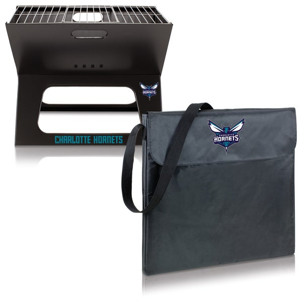 Picnic Time Charlotte Hornets Metal/Polyester X-grill Portable BBQ