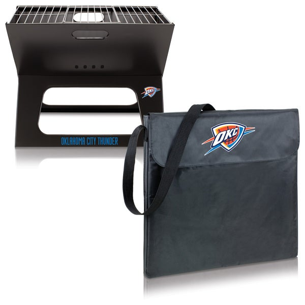 Picnic Time Oklahoma City Thunder Black Polyester and Metal X-Grill Portable BBQ Grill