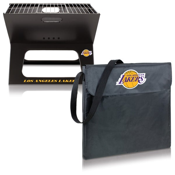 Picnic Time Los Angeles Lakers X-Grill Black Metal and Polyester Portable BBQ Grill