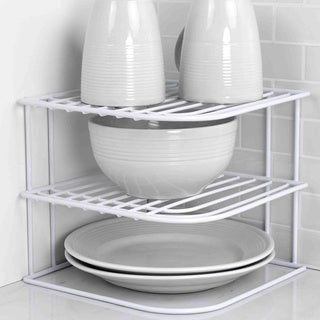 Sunbeam White Metal Corner Shelf Rack