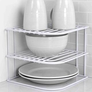 Home Basics White Vinyl Coated Steel Corner Rack