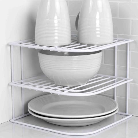 Home Basics White Vinyl Coated Steel Corner Rack