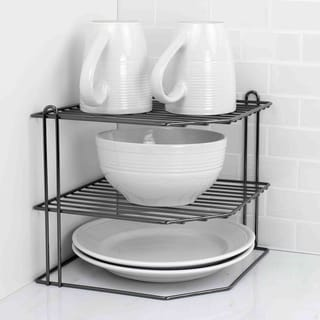 Home Basics Black Metal Corner Kitchen Shelf Rack