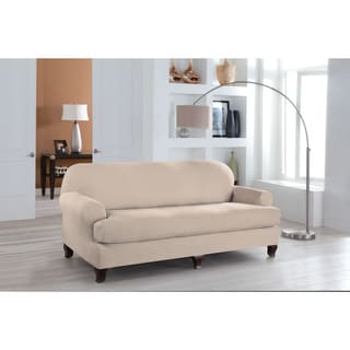Tailor Fit Stretch Fit T Sofa Slipcover (2-piece Set) in Ivory(As Is Item)
