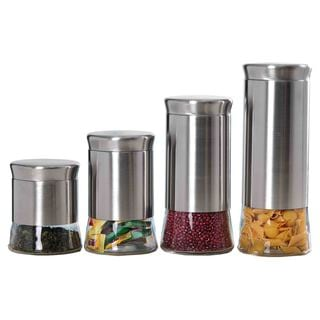 Home Basics Essence Clear Glass and Stainless Steel Canister Set (Set of 4)