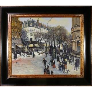 Jean Francois Raffaelli 'Boulevard des Italiens' Hand Painted Framed Canvas Art