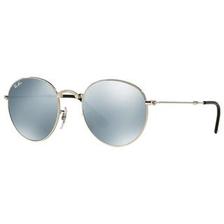Ray-Ban RB3532 003/30 Round Metal Folding Silver Frame Silver Flash 50mm Lens Sunglasses
