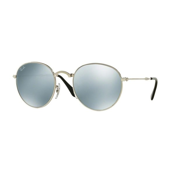 43d391e256 Ray-Ban RB3532 003 30 Round Metal Folding Silver Frame Silver Flash 50mm  Lens