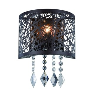 Elegant Lighting Finley 8-inch Wall Sconce with Matte Dark Brown Finish and Crystal