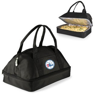 Picnic Time Philadelphia 76ers Black Polyester and Aluminum 2-tiered Casserole Tote