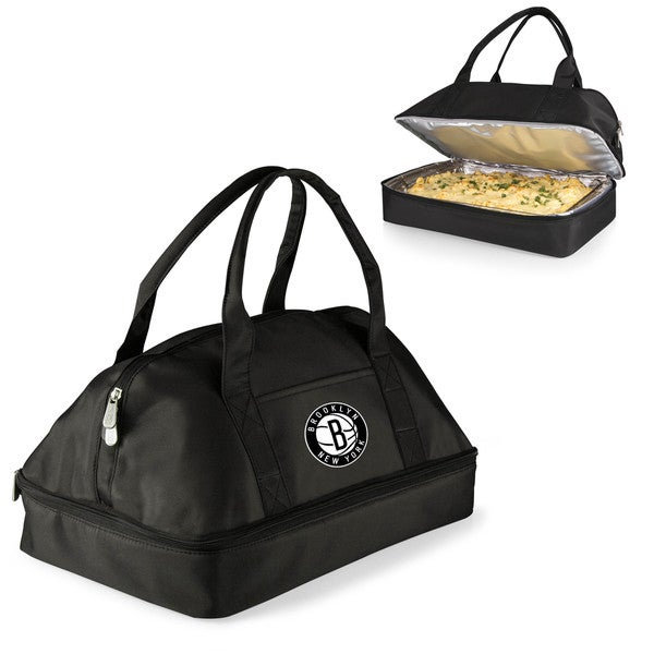 Picnic Time Brooklyn Nets Black Polyester and Aluminum Two-tiered Casserole Tote