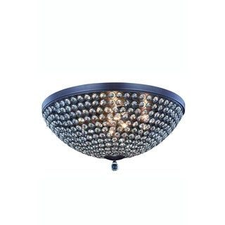 Elegant Lighting Brida 21.7-inch Flush Mount with Matte Brown Finish and Crystal