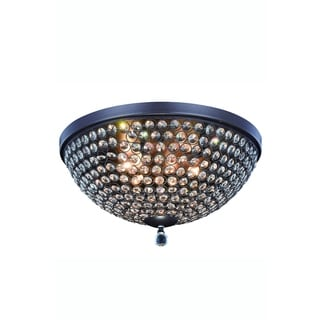 Elegant Lighting Brida 18-inch Flush Mount with Matte Brown Finish and Crystal