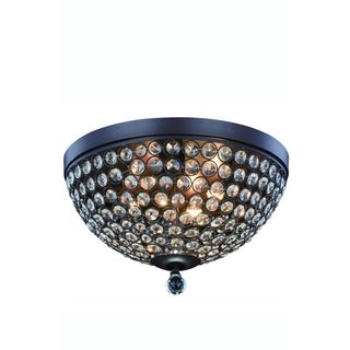Elegant Lighting Brida 14.2-inch Flush Mount with Matte Brown Finish and Crystal