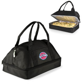 Picnic Time Detroit Pistons Black Polyester and Aluminum Two-tiered Casserole Tote