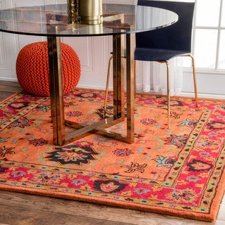 nuLOOM Handmade Overdyed Traditional Orange Wool Rug (8' Square)