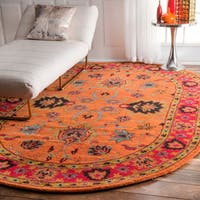 Gracewood Hollow Odyssey Handmade Overdyed Traditional Orange Wool Rug (6' x 9' Oval)