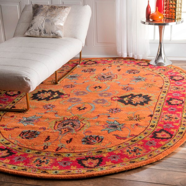 Nuloom Handmade Overdyed Traditional Orange Wool Rug 6 X