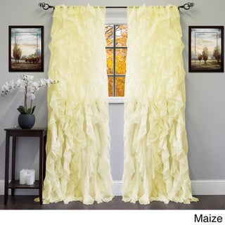 Sheer Voile Ruffled Tier Window Curtain Panel - 50 X 84
