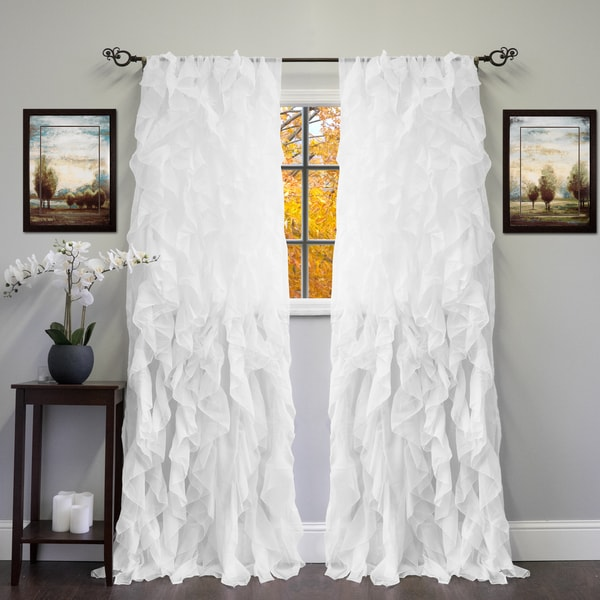 sheer voile ruffled tier window curtain panel free