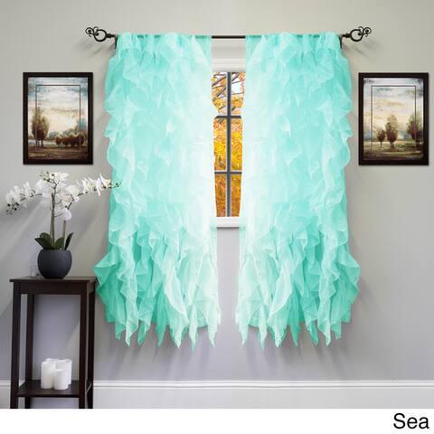 Voile 50 x 63 Vertical Ruffle Tier Window Curtain Panel - 50 x 63
