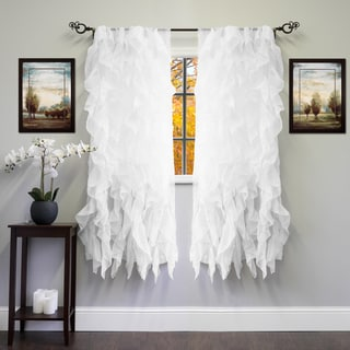 Voile Polyester 50 x 63 Vertical Ruffle Tier Window Curtain Panel
