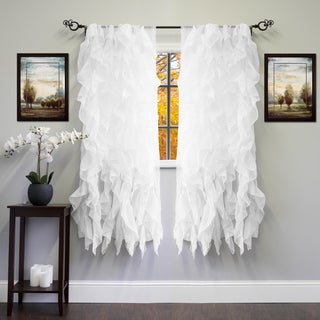 Voile 50 x 63 Vertical Ruffle Tier Window Curtain Panel