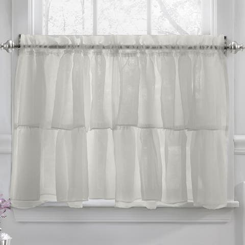 Elegant Crushed Voile Ruffle Blue/White/Pink/Purple/Beige Window Curtain Pieces With Optional Valance and Tiers
