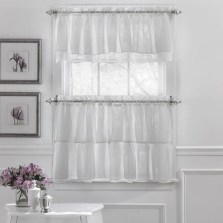 Elegant Crushed Voile Ruffle Blue/White/Pink/Purple/Beige Window Curtain Pieces With Optional Valance and Tiers (Option: Pink)