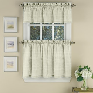 Woven Window Pane Pattern Beige Polyester Curtain Pieces