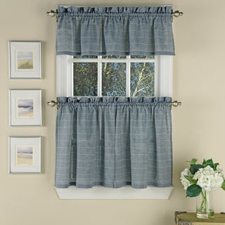 Blue Woven Window Pane Curtain Pieces with Valance/Tier Options