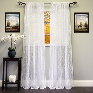 White/Ivory 56-inch x 84-inch Knit Lace Bird Motif Window Curtain Panel